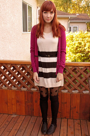 pink joe fresh style cardigan - black joe fresh style belt - black H&M tights -