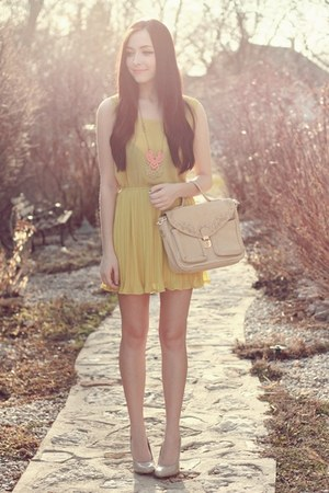 light yellow romwe dress - eggshell romwe bag