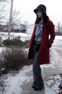 red coat - gray joe fresh style hat - gray Club Monaco shirt