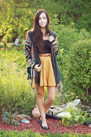 burnt orange Billabong sweater - black Billabong bag - mustard Forever 21 skirt