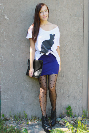 deep purple Wet Seal skirt - black romwe bag - black acid reign t-shirt