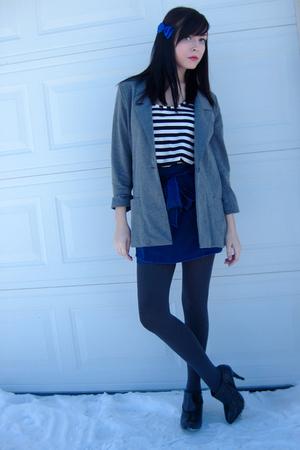 blue Forever 21 skirt - gray urban behavior blazer - black urban behavior shirt