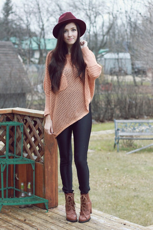 light pink awwdore sweater - brown romwe boots - black American Apparel pants