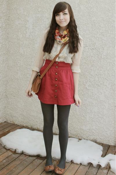 red Forever 21 skirt - light brown Wet Seal flats