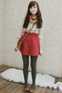 red Forever 21 skirt - light brown Wet Seal flats