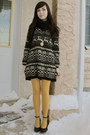 Black-wwwromwecom-romwe-dress-mustard-anthropologie-tights-black-aldo-wedges