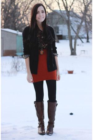 burnt orange windsor skirt - dark brown windsor blouse - orange Nectar necklace