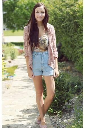 camel Forever 21 top - light pink LuLus cardigan - light pink Happy Scarf flats