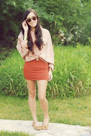 peach miss patina top - burnt orange windsor skirt