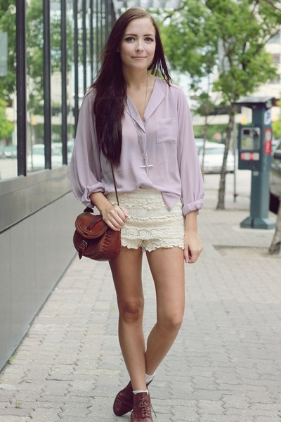 light purple Chicwish top - cream Chicwish shorts