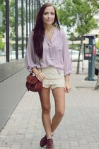light purple Chicwish top - cream Chicwish shorts