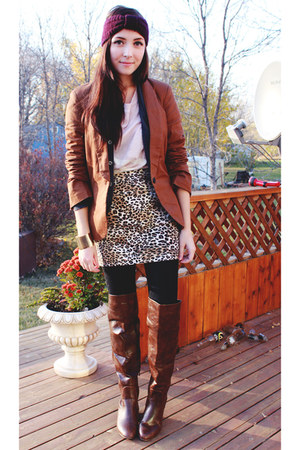 dark brown Wet Seal skirt - dark brown Spring boots - brown Have a Look blazer
