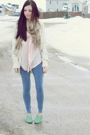 light pink Chicwish blouse - aquamarine le bunny bleu shoes