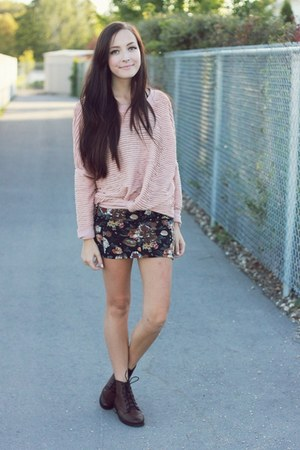 brown Forever 21 skirt - dark brown romwe boots - light pink awwdore sweatshirt