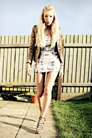 brown leopard print Lipsy heels - bronze H&M jacket