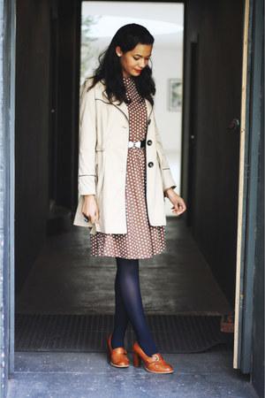 brown polka dot vintage dress - beige mac new look coat - navy Topshop tights