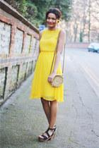 yellow chiffon Topshop dress - straw circle Primark bag