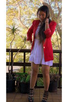 red table eight blazer - white Paris dress - black Forever 21 shoes