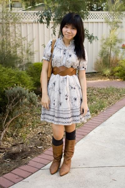Dotti accessories - supre belt - H&M dress - Novo boots - Dangerfield socks