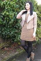 tan trendz dress - tan portmans jacket - tan cotton on wedges