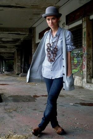 H&M hat - Zara boots - H&M jeans - H&M shirt - GINA TRICOT vest