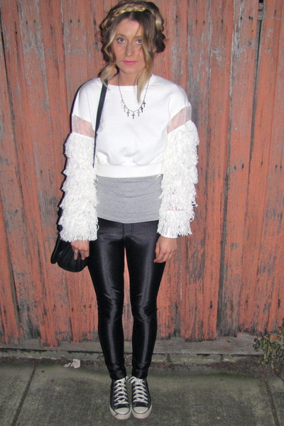 black disco pants American Apparel pants - white tassle sleeve Mossman jumper