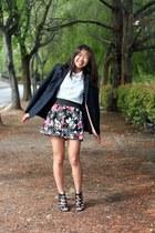 black floral Heart Soul skirt - navy calvin klein blazer
