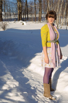 gold delias sweater - free people dress - pink H&M scarf - purple Primark tights
