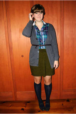 green American Apparel skirt - blue blouse - gray American Apparel cardigan - bl
