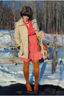 Red-dress-tan-jacket-tan-bag-tawny-heels-brown-cardigan