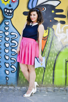navy top - white shoes - light blue bag - bubble gum skirt
