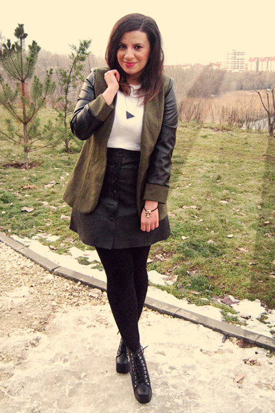dark khaki She Inside blazer - black Jeffrey Campbell boots