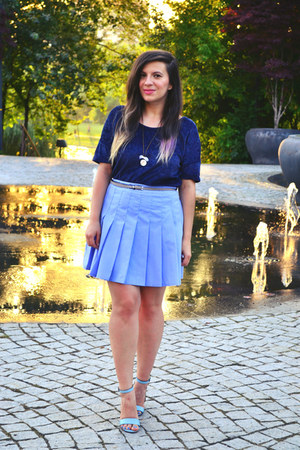 sky blue Second Hand Store skirt - navy Stradviarius top - sky blue Zara sandals