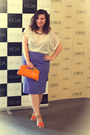 Light-orange-meli-melo-purse-carrot-orange-oasap-sandals-purple-skirt