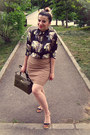 Black-romwe-shirt-olive-green-the-bag-shop-bag-cream-vintage-skirt