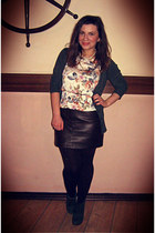ivory top - dark brown skirt - forest green cardigan