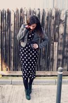 heather gray joy fashion jacket - dark green boots - black dress - silver ring