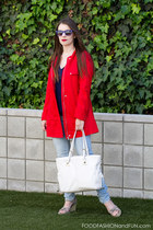 red H&M jacket - light denim Forever21 jeans - white calvin klein bag