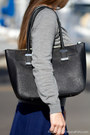 Grey-marshalls-sweater-black-leather-calvin-klein-purse