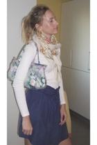 vintage scarf - American Apparel top - Tara Jarmond skirt - vintage purse