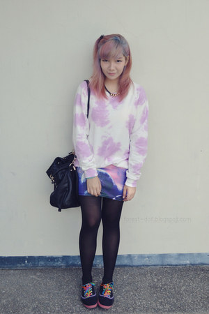 purple WAGW skirt - bubble gum Forever21 sweater - black Forever21 tights