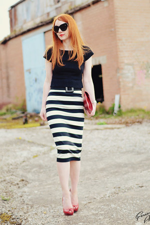 black robert rodriguez skirt - red Zara heels