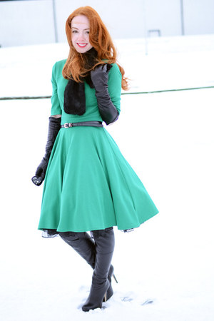 black Topshop boots - green Dorothy Perkins dress