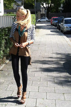 stripes MACHIMA blazer - American Apparel leggings - asos top - H&M necklace