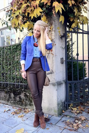 Zara blazer - H&amp;M boots - asos bag - GINA TRICOT pants - MACHIMA blouse