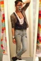 Macys sweater - BCBG top - C Ronson - UO jeans - Salvation Army shoes