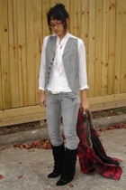 banana republic vest - vintage mom blouse - Hot Topic belt - UO jeans - asos boo