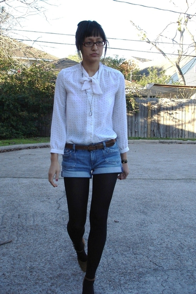 mom vintage blouse - Salvation Army belt - H&amp;M shorts - Buffalo Exchange shoes -