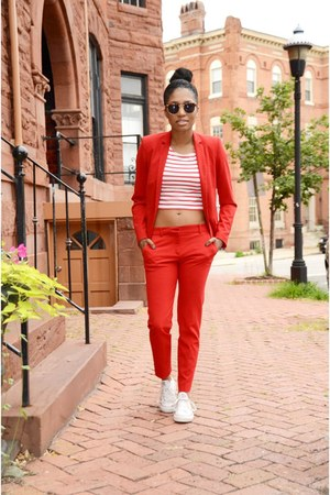 red cotton Zara suit - red cotton H&M top - white cotton Converse sneakers