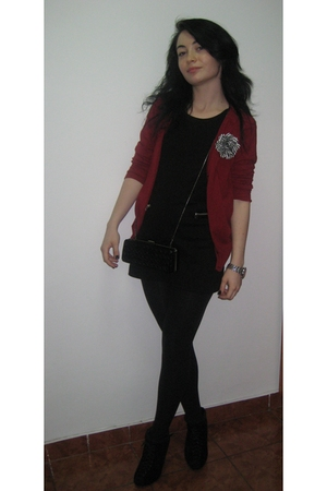 black H&M dress - red Zara cardigan - black Zara boots